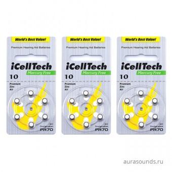 iCellTech 10 DS, батарейки для слуховых аппаратов, 3 блистера (18 батареек)