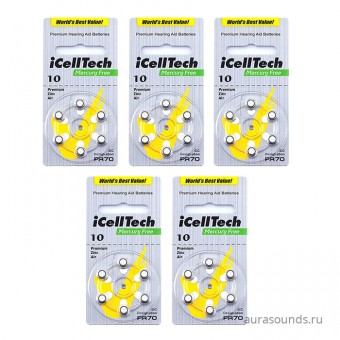 Батарейки для слуховых аппаратов iCellTech 10 DS, 5 блистеров (30 батареек)