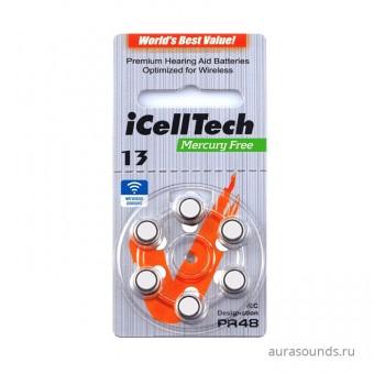 iCellTech 13 (PR48) батарейки для слуховых аппаратов, 1 блистер (6 батареек)