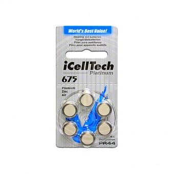 iCellTech 675 (PR44) батарейки для слуховых аппаратов, 1 блистер, 6 батареек.