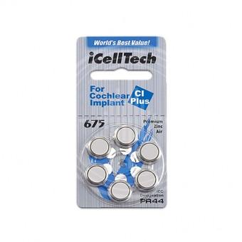 Батарейки iCellTech 675 CI (PR44) для кохлеарных имплантов, 1 блистер, 6 батареек.