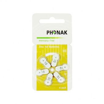 Батарейки Phonak 10 (PR70) для слухового аппарата, 1 блистер (6 батареек)