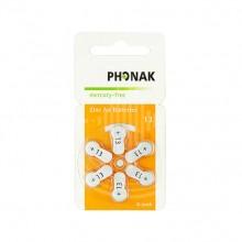 Батарейки Phonak 13 (PR48) для слухового аппарата, 1 блистер (6 батареек)