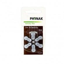 Батарейки Phonak 312 (PR41) для слухового аппарата, 1 блистер (6 батареек)