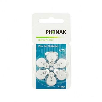 Батарейки Phonak 675 (PR44) для слуховых аппаратов, 1 блистер (6 батареек)