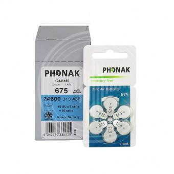Батарейки Phonak 675 (PR44) для слухового аппарата, 10 блистеров (60 батареек)