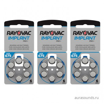 Батарейки для кохлеарных имплантатов Rayovac 675 implant pro+ 3 блистера (18 батареек)