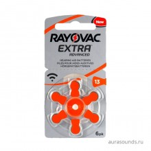 Батарейки Rayovac 13 (PR48) для слуховых аппаратов, 1 блистер (6 батареек)