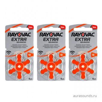 Батарейки Rayovac 13 (PR48) для слуховых аппаратов, 3 блистера (18 батареек)