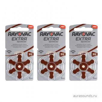 Батарейки Rayovac 312 (PR41) для слуховых аппаратов, 3 блистера (18 батареек)