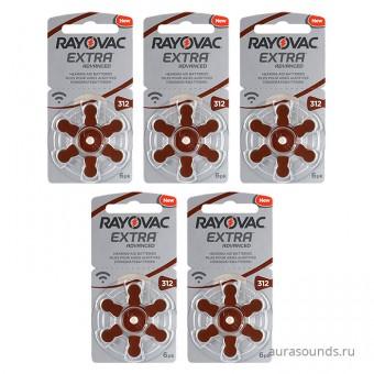 Батарейки Rayovac 312 (PR41) для слуховых аппаратов, 5 блистеров (30 батареек)