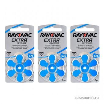 Батарейки Rayovac 675 (PR44) для слухового аппарата, 3 блистера (18 батареек).