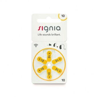 Батарейки Signia 10 (PR70) для слухового аппарата, 1 блистер (6 батареек)