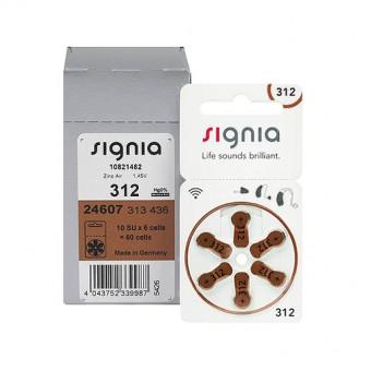 Батарейки Signia 312 (PR41) для слуховых аппаратов, упаковка (60 батареек)