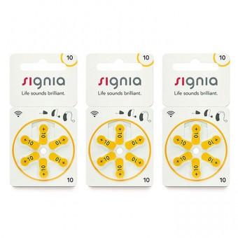 Батарейки Signia 10 (PR70) для слухового аппарата, 3 блистера (18 батареек)