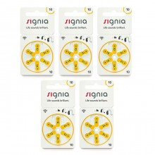 Батарейки Signia 10 (PR70) для слухового аппарата, 5 блистеров (30 батареек)