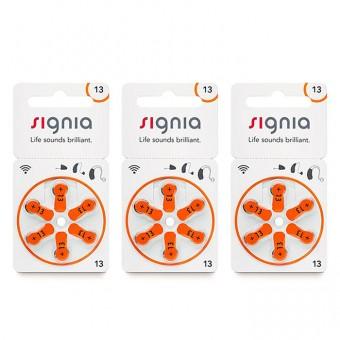 Батарейки Signia 13 (PR48) для слухового аппарата, 3 блистера (18 батареек)