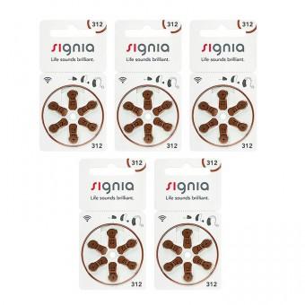 Батарейки для слуховых аппаратов Signia 312 (PR41), 5 блистеров (30 батареек)