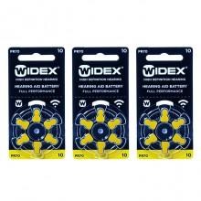Батарейки Widex 10 (PR70) для слуховых аппаратов, 3 блистера (18 батареек)